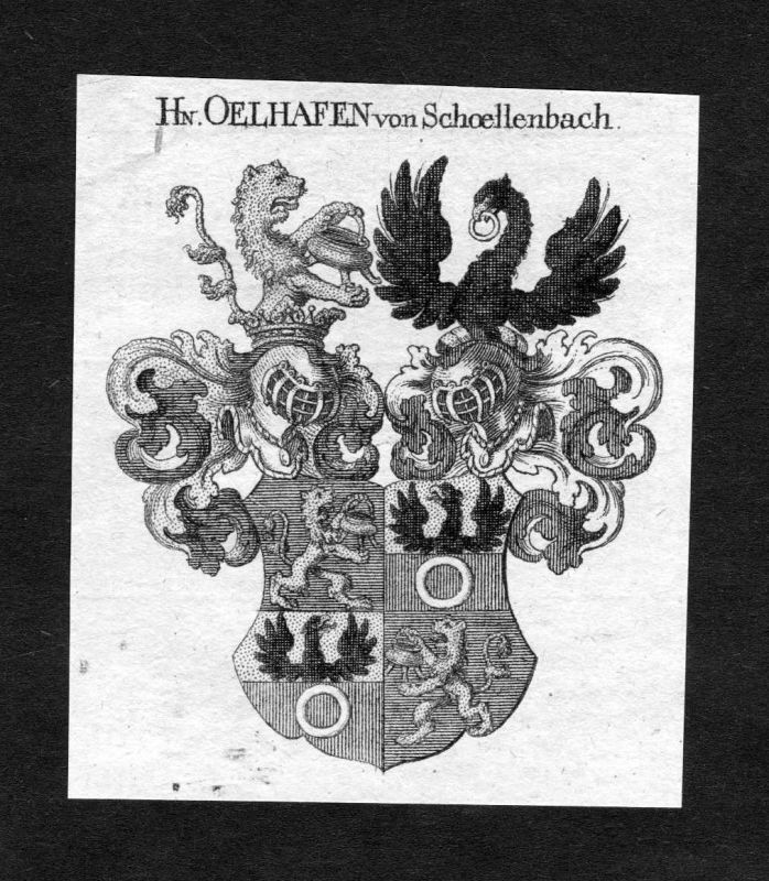1820 - Oelhafen von Schöllenbach Schoellenbach Wappen Adel coat of arms H 124957
