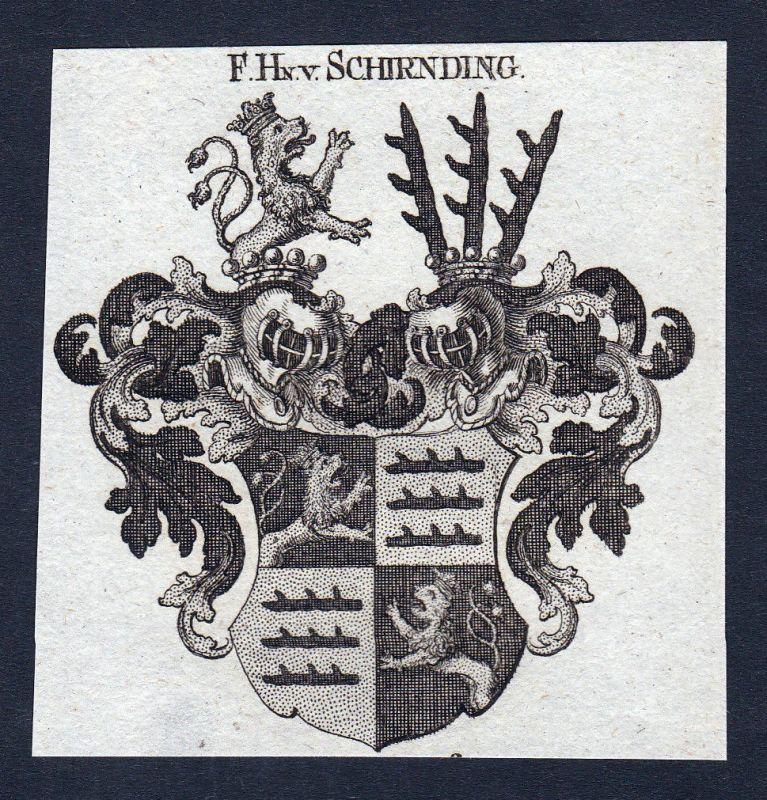 1820 Schirnding Oberfranken Wappen Adel coat of arms Heraldik engraving