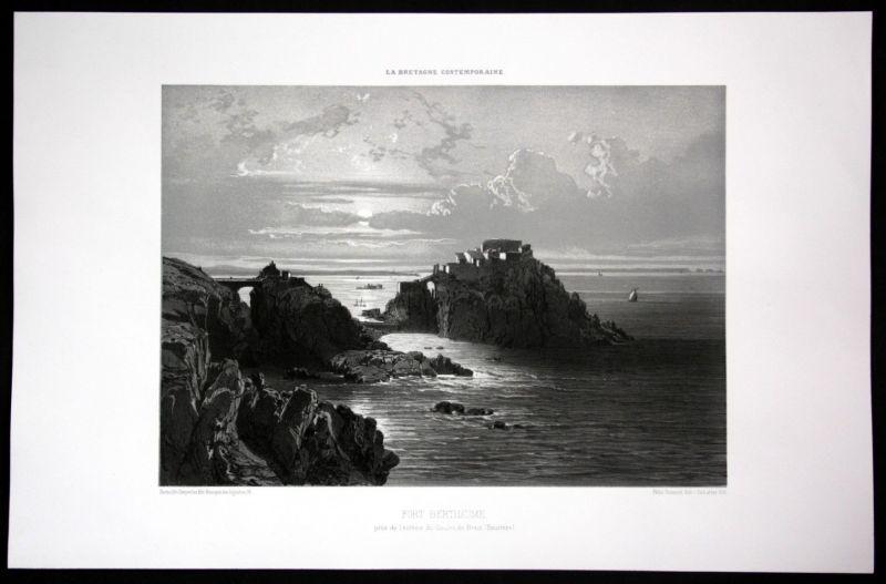 Ca. 1860 Fort de Bertheaume Festung Bretagne Frankreich France Lithographie