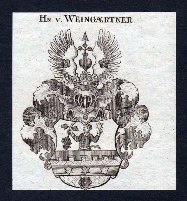 1820 Weingaertner Weingärtner Wappen Adel coat of arms Kupferstich engraving
