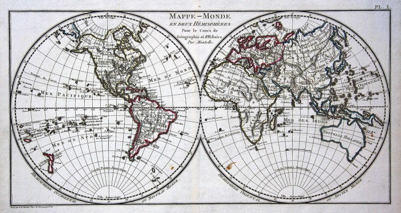 1800 Weltkarte world map Hemisphäre hemisphere Karte Mentelle