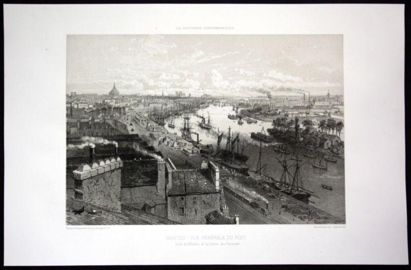 Ca. 1860 Nantes Hafen port vue Bretagne Frankreich France Lithographie