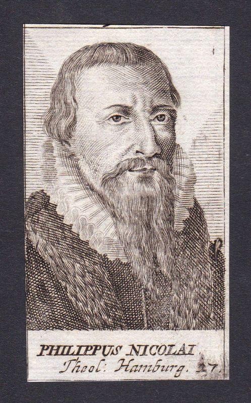 Philipp Nicolai preacher Prediger minister Pfarrer Hamburg Portrait Kupferstich