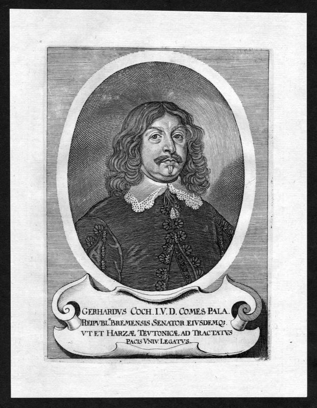 17. Jh. Gerhard Coccejus Bremen Koch Portrait Kupferstich antique print