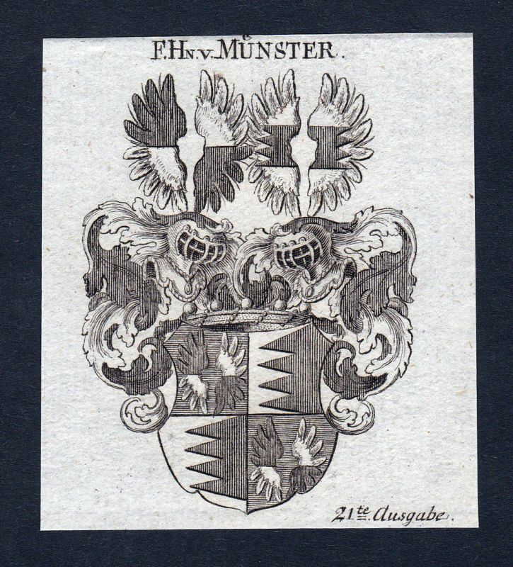 1820 Münster Franken Wappen Adel coat of arms Heraldik Kupferstich engraving