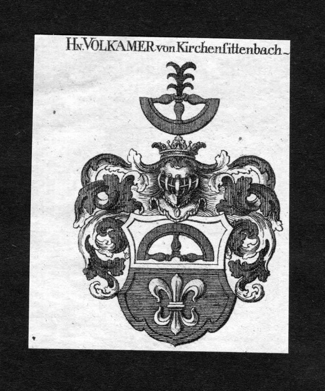1820 Volkamer Volckamer von Kirchensittenbach Wappen Adel coat of arms He 124985