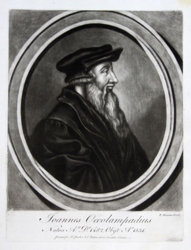 1759 Richard Houston Johannes Oekolampad Portrait Aquatinta mezzotint Theologe