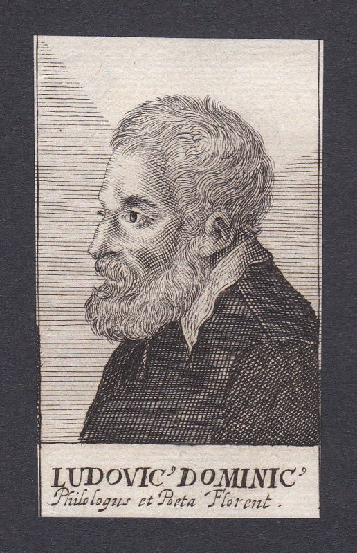 17. Jh. - Ludwig Dominicus / philologist Dichter Firenze Portrait Kupferstich