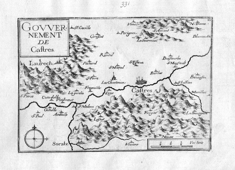 Ca. 1630 Castres Midi-Pyrenees Tarn Frankreich France gravure carte Tassin