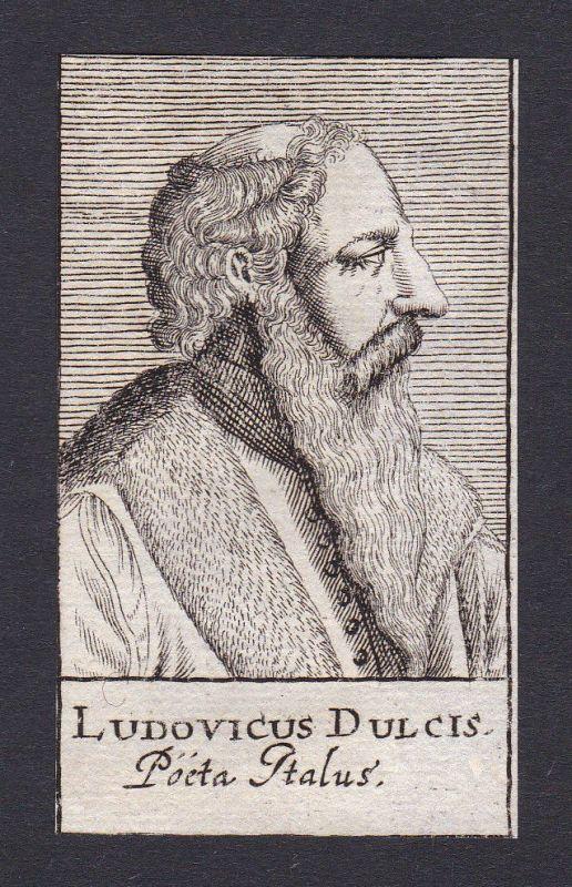 17. Jh. Ludwig Dulcis / poet Dichter Italia Portrait Kupferstich