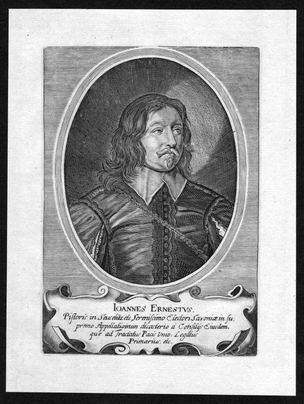 17. Jh. Johann Ernst Sachsen Portrait Kupferstich antique print