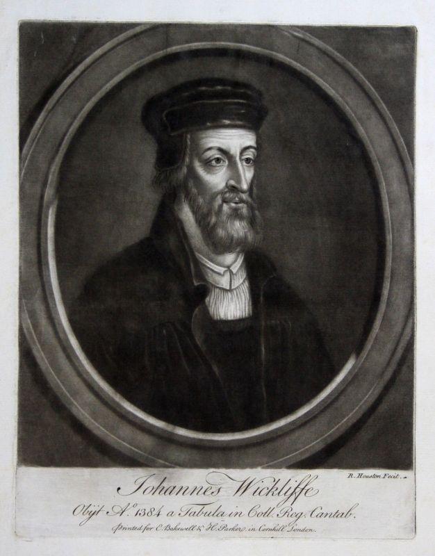 1759 Richard Houston John Wyclif Portrait Aquatinta mezzotint Philosoph Theologe