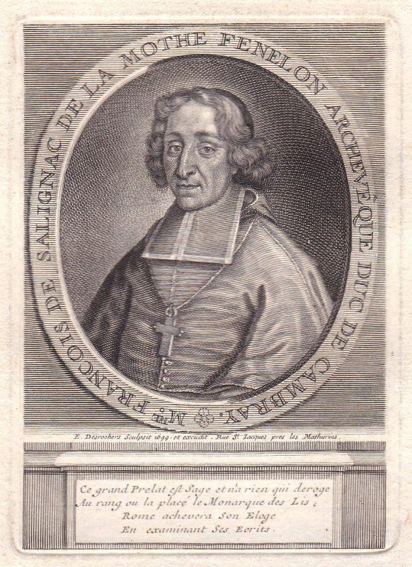 17. Jh. Francois Fenelon pedagogue gravure Portrait Kupferstich antique print
