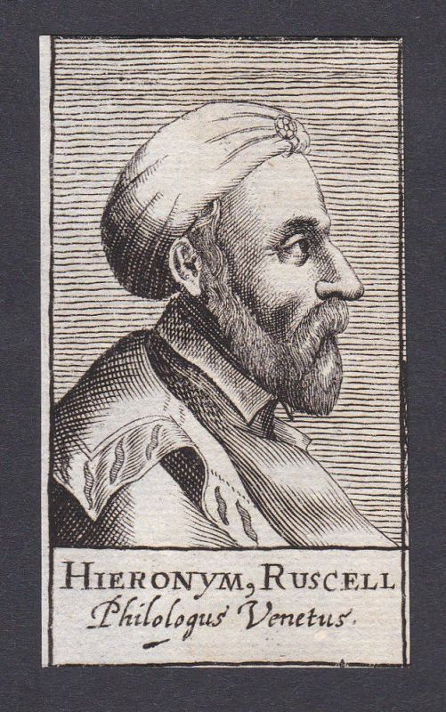 17. Jh. Girolamo Ruscelli / editor Humanist Venezia Portrait Kupferstich