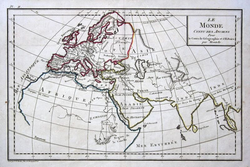 1800 Europa Europe Afrika Africa Arabia Arabien India Indien Karte map Mentelle