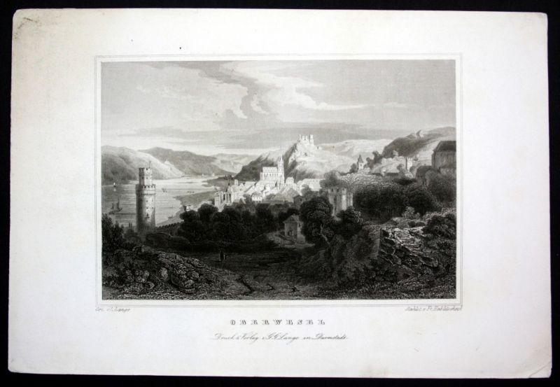 Ca. 1850 Oberwesel Ansicht Gesamtansicht view Stahlstich steel engraving