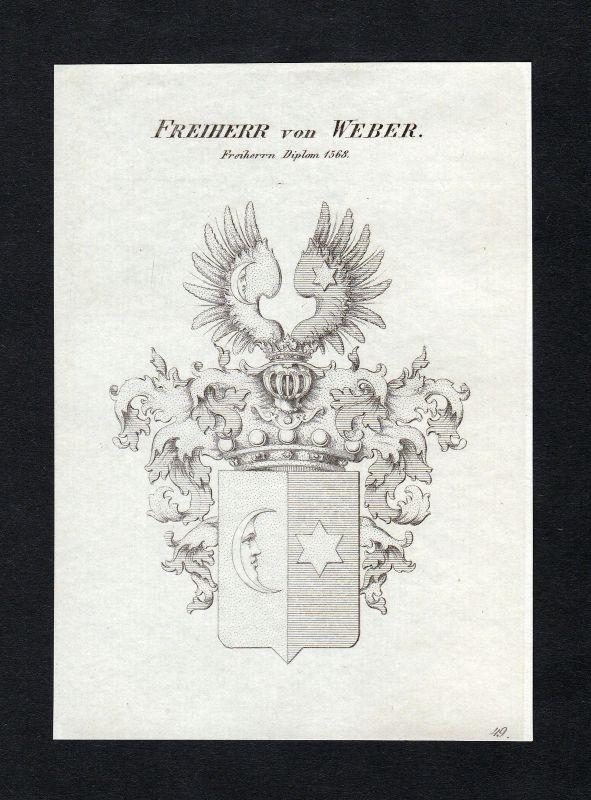 Ca. 1820 Weber Wappen Adel coat of arms Kupferstich antique print heraldry