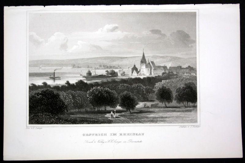 Ca. 1850 Oestrich im Rheingau Ansicht view Stahlstich steel engraving