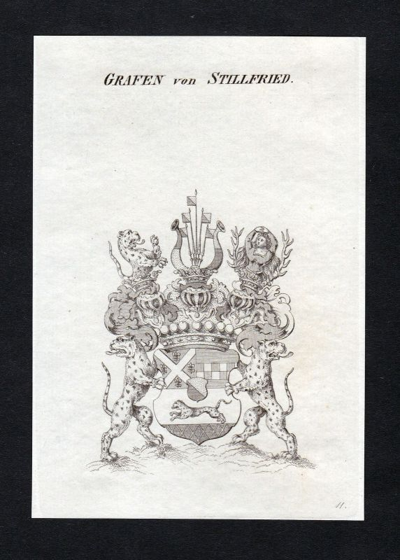 Ca. 1820 Stillfried-Rattonitz Wappen Adel coat of arms Kupferstich antiqu 132704