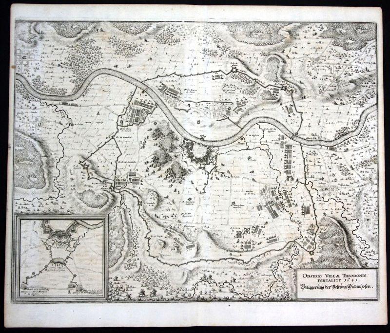 Ca. 1650 Thionville siege bataille gravure plan Kupferstich antique print Merian