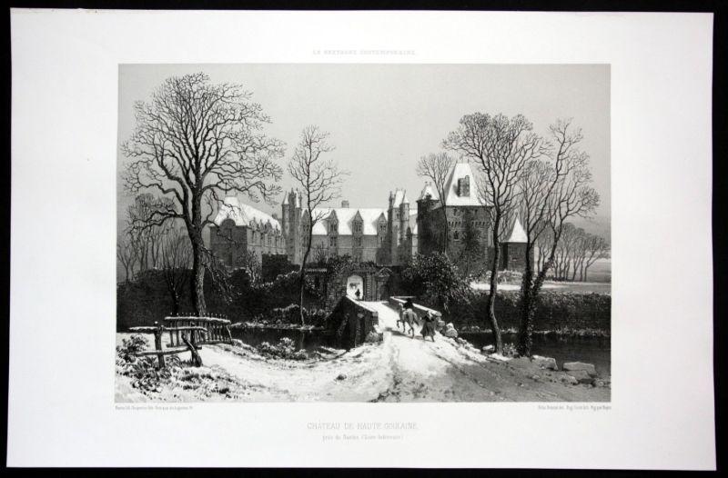 Ca. 1860 Chateau de Goulaine Nantes vue Bretagne Frankreich France Lithographie