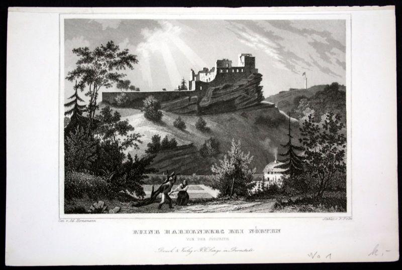 Ca. 1850 Burg Hardenberg Nörten Ruine Stahlstich steel engraving