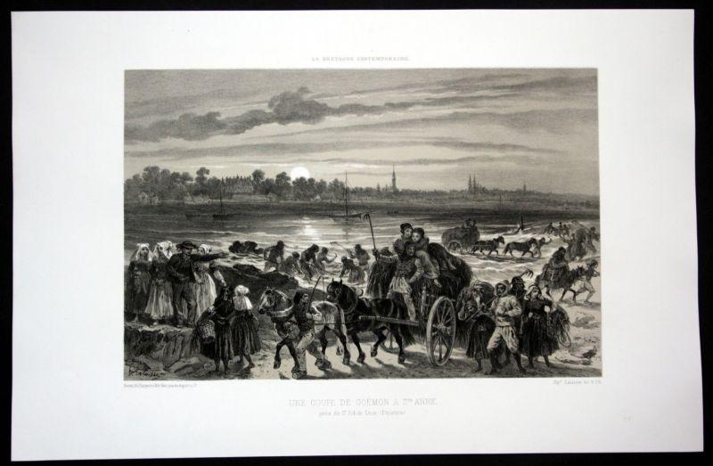 Ca. 1860 Saint Pol de Leon Ansicht vue Bretagne Frankreich France Lithographie