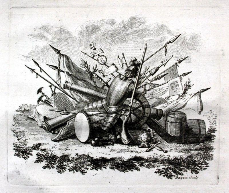 Ca. 1780 Militaria Stilleben Ornament Waffen weapons Kupferstich