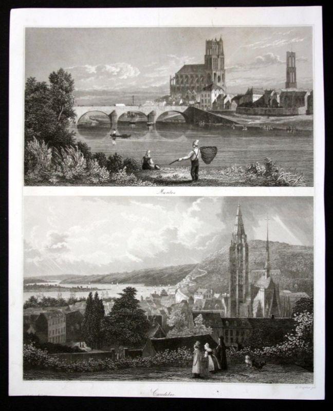 Ca. 1850 Mantes la Jolie Caudebec en Caux Ansicht Stahlstich steel engraving