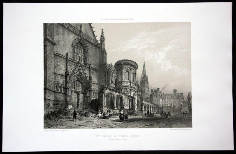 1860 Cathedrale Saint Pierre de Vannes Bretagne Frankreich France Lithographie