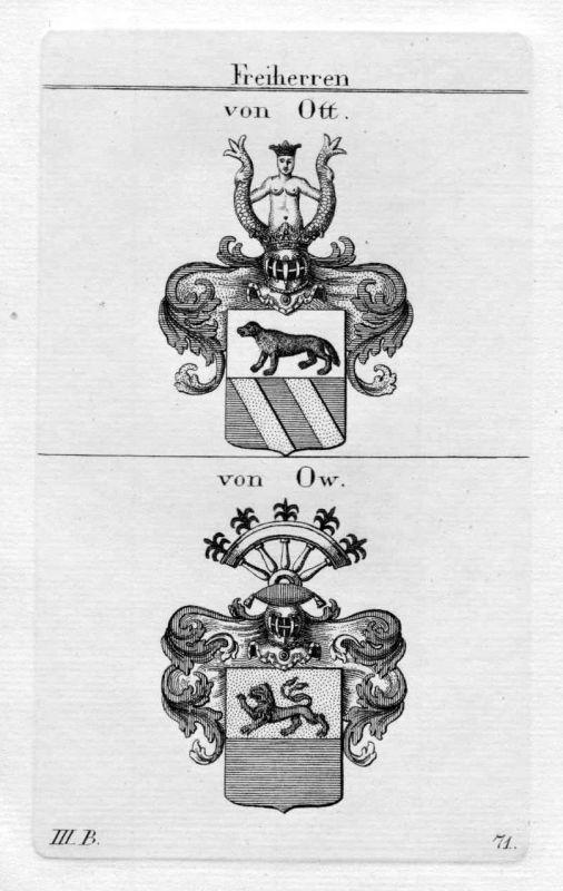 Ott Ow Ou - Wappen Adel coat of arms heraldry Heraldik Kupferstich