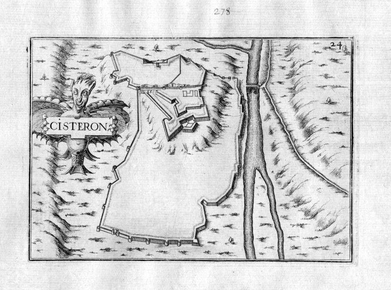 1630 Sisteron Forcalquier France Kupferstich Karte map engraving gravure Tassin