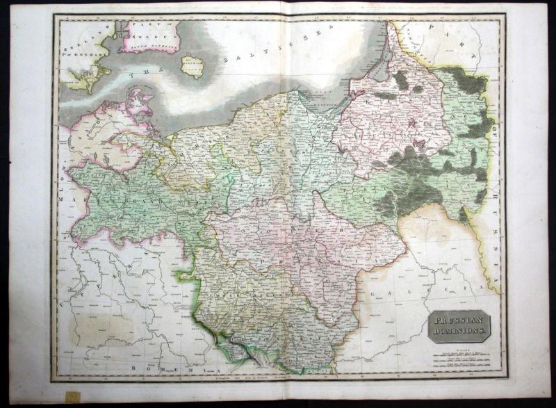 Karte Ostpreußen.1817 Polen Poland Polska Ostpreussen Preussen Map Karte Thomson Kupferstich