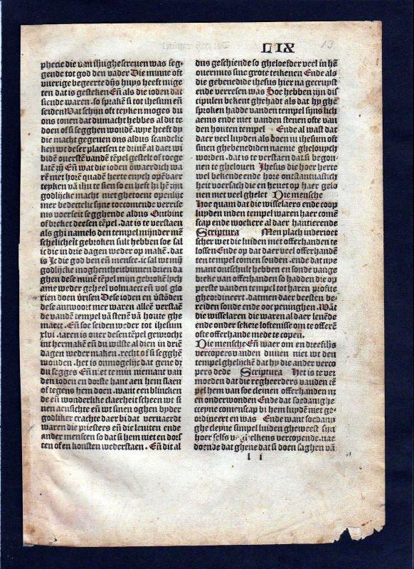 1499 Blatt LIX Inkunabel Vita Christi Zwolle incunable Dutch Holland