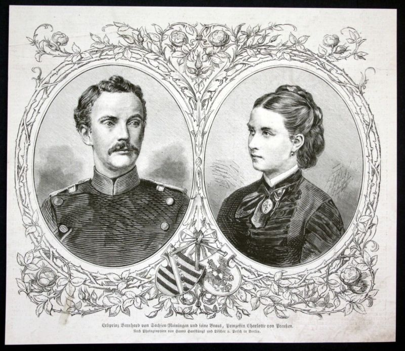 1877 Bernhard III Charlotte von Preußen Portrait Holzstich antique print