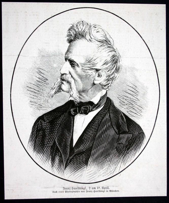 1877 Franz Hanfstaengel Maler Fotograf Portrait Holzstich antique print