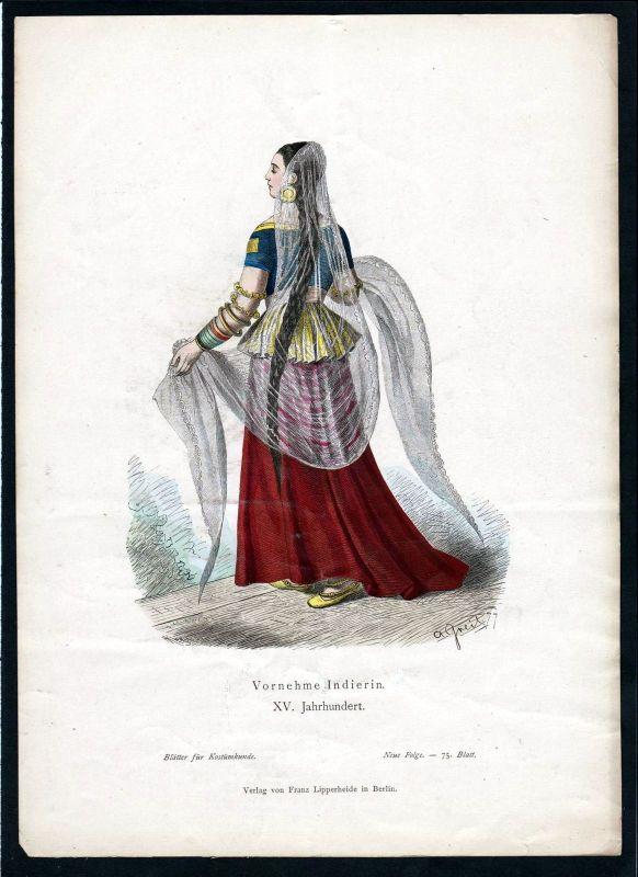 1880 - Inderin Indien India Asien Asia Tracht Trachten costumes Grafik graphic