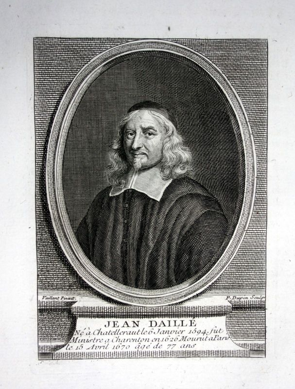 18. Jh. Jean Daille pasteur theologien gravure Kupferstich Portrait engraving