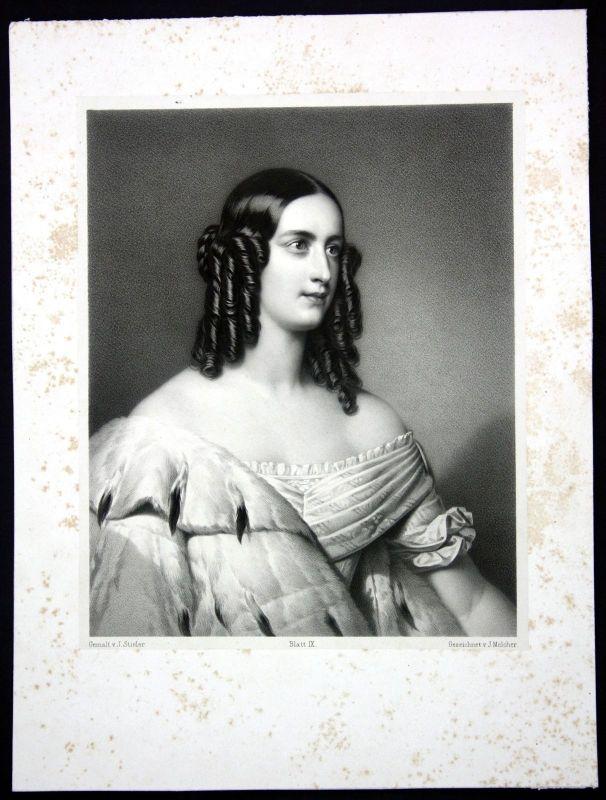 Caroline Prinzessin von Oettingen Wallerslein Portrait Lithographie Melcher