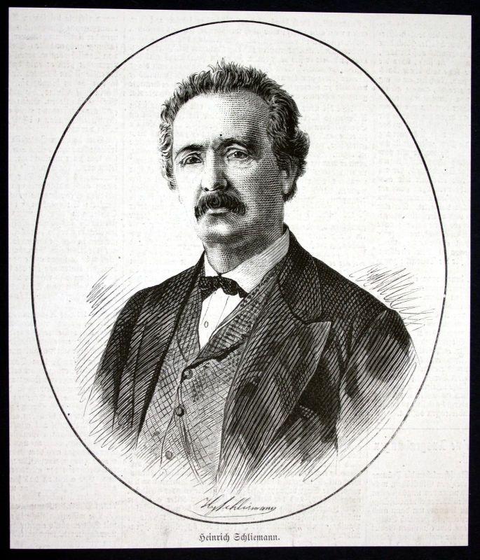 1877 Heinrich Schliemann Archäologe Portrait Holzstich antique print