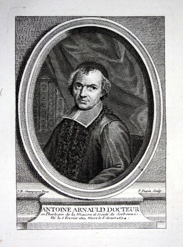 18. Jh. Antoine Arnauld theologien philosophe mathematicien gravure Portrait
