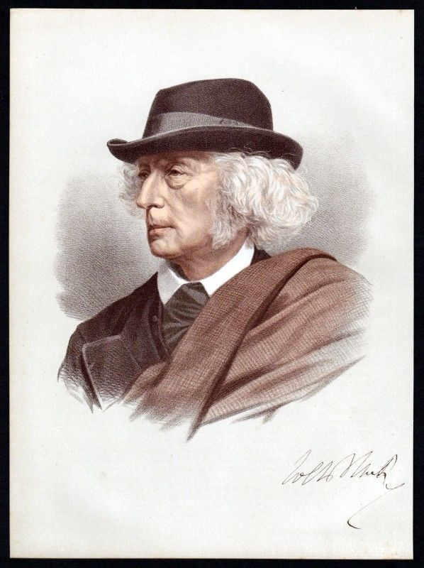 John Stuart Blackie (1809-1895) Philologe Dichter - Lithographie Portrait