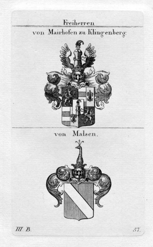 Mairhofen Klingenberg Malsen - Wappen Adel coat of arms heraldry Heraldik Kupfer