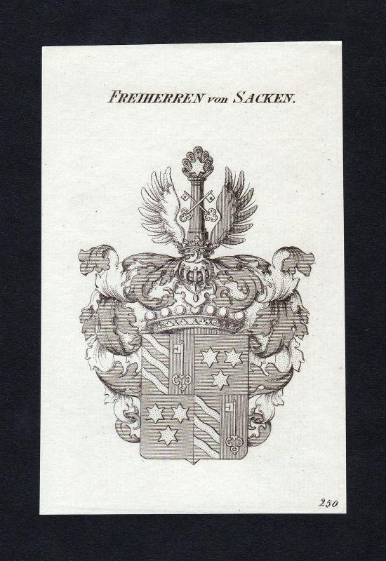 1820 Sacken Wappen Adel coat of arms heraldry Heraldik Kupferstich engraving