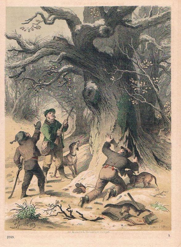 1869 - Marderjagd Marder Jäger Jagd hunting Lithographie lithography