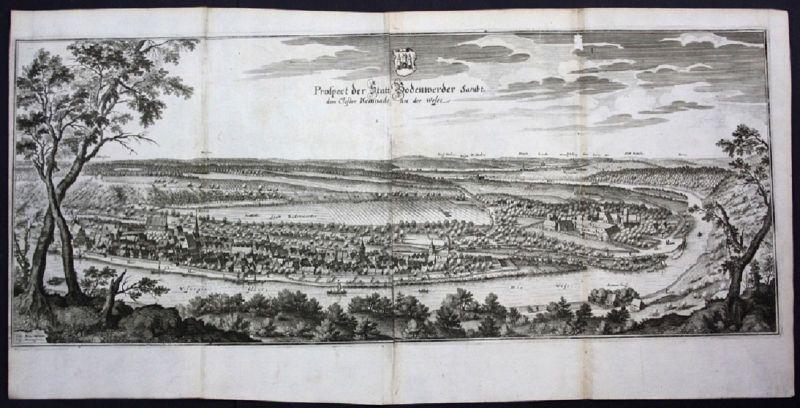 Bodenwerder / LK Holzminden - Gesamtansicht / Panorama - Kupferstich Merian Meri