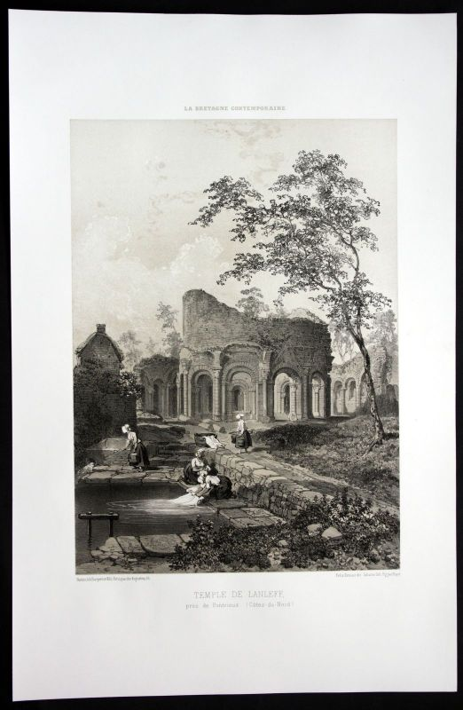 1860 - Temple de Lanleff Pontrieux Bretagne Frankreich France Lithographie