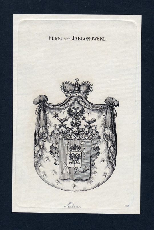 1820 Jablonowski Wappen Adel coat of arms Heraldik Kupferstich engraving