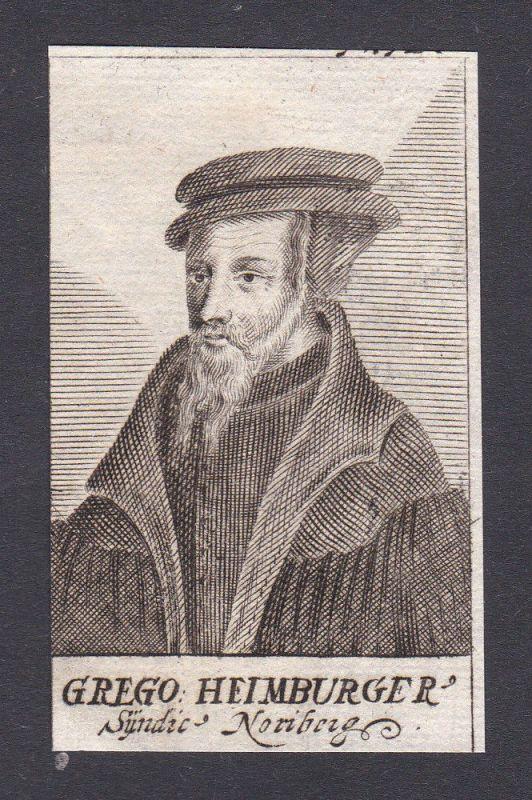 17. Jh. - Gregory of Heimburg / jurist Humanist Nürnberg Portrait Kupferstich