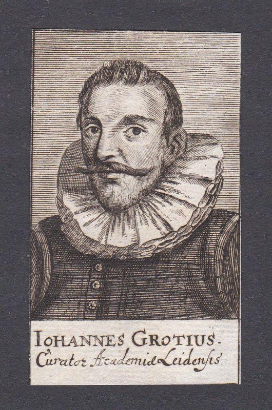 17. Jh. - Johannes Grotius / curator Leiden Portrait Kupferstich